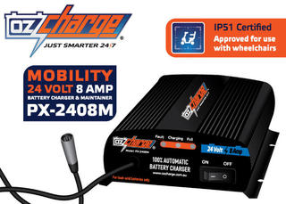 24 Volt / 8 Amp Mobility and Wheelchair Battery Charger