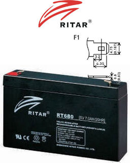 6V 8ah SLA, VRLA, AGM sealed Battery RITAR
