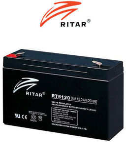 6V 12ah SLA, VRLA, AGM sealed Battery RITAR