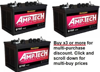 Deep Cycle 12V 105a/h Battery AMP-TECH with MULTI-BUY