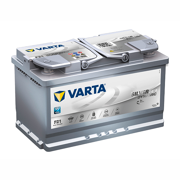 VARTA AGM/SILVER 12V Car battery F21, 580 901 080, DIN77H (Cycling and/or starting) (FREE DELIVERY, no Rural tickets)