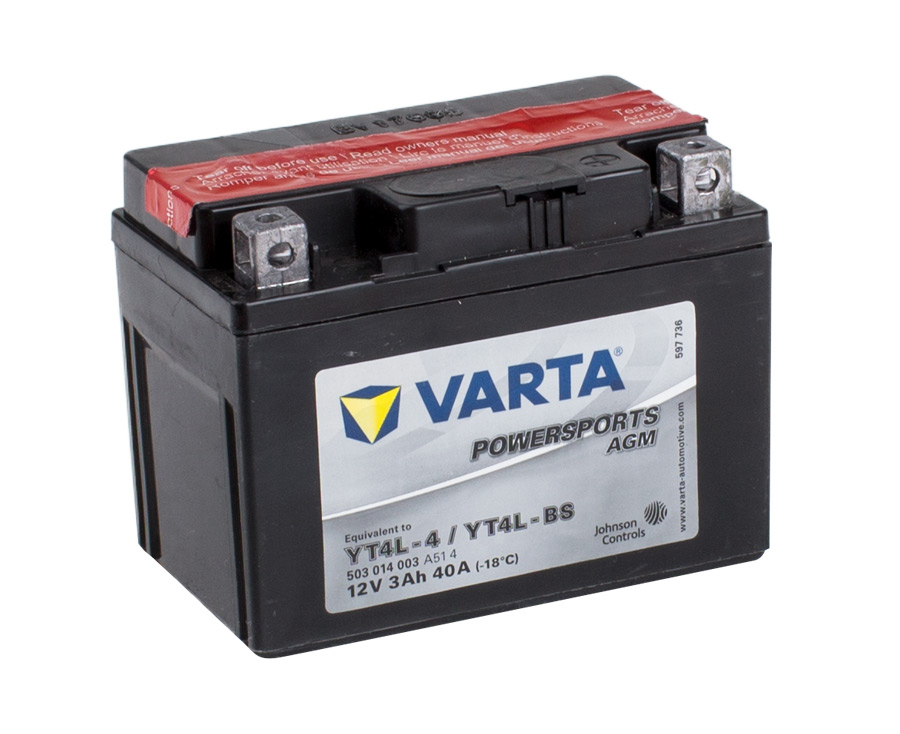 YT4L-4 VARTA Powersports AGM Dry-cell Motorcycle battery 12v