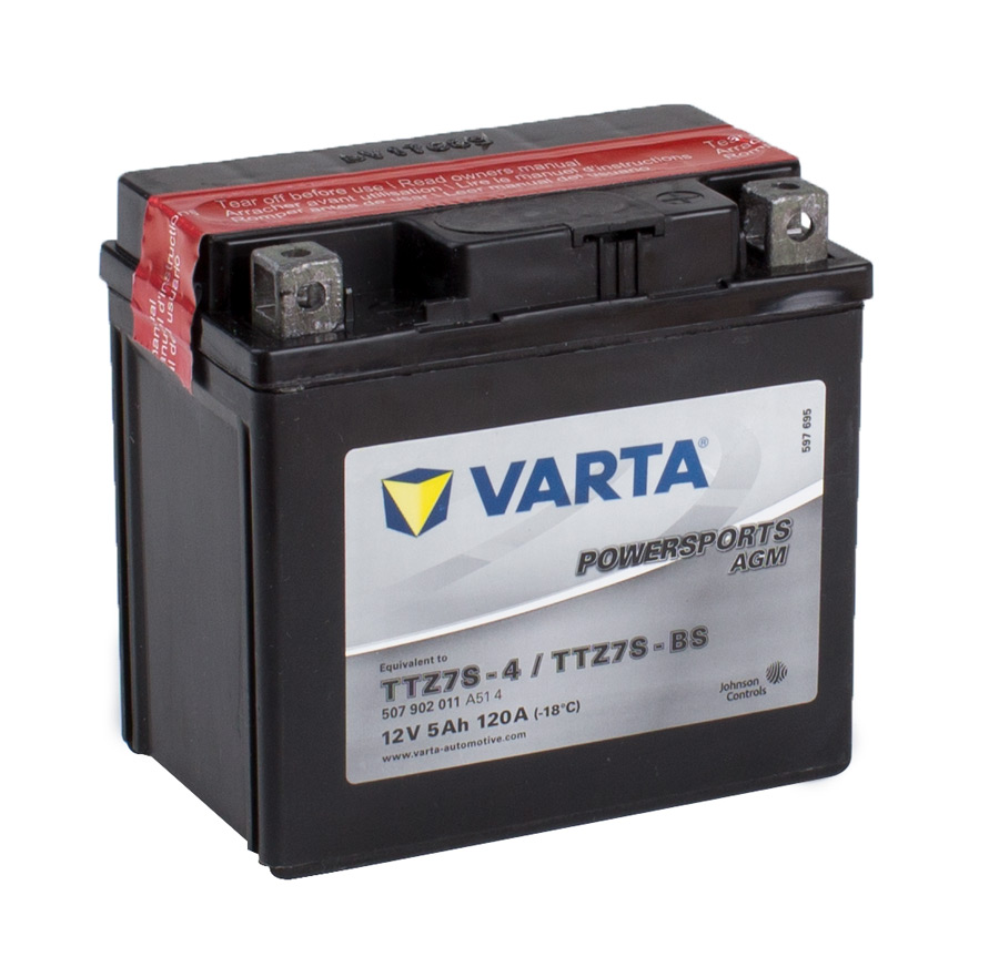 TTZ7S VARTA Powersports AGM Dry-cell Motorcycle battery 12v