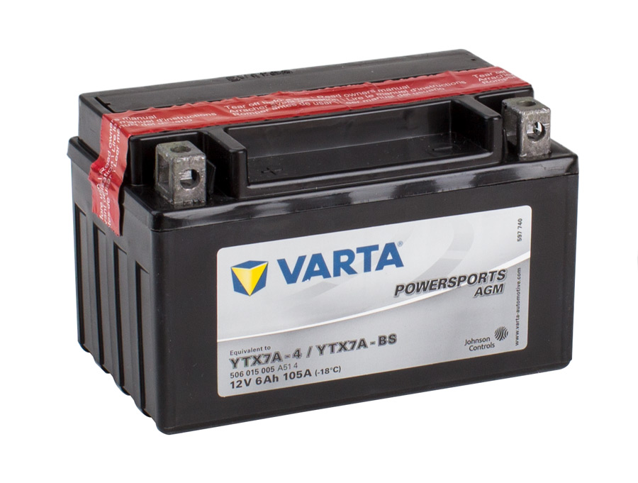 YTX7A-4 VARTA Powersports AGM Dry-cell Motorcycle battery 12v