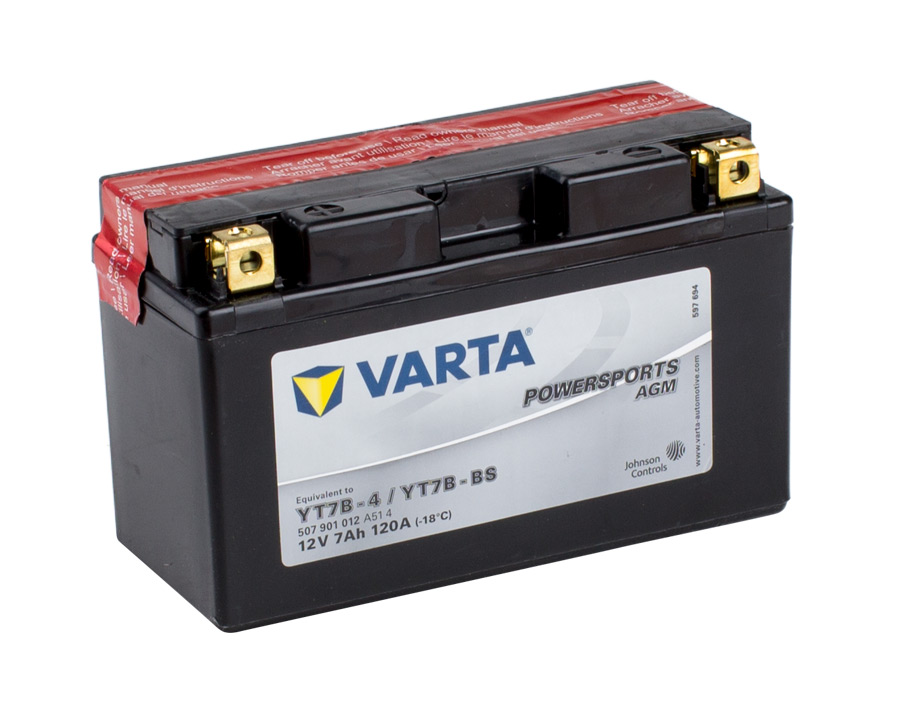yt7b 4 varta powersports agm dry cell motorcycle battery. Black Bedroom Furniture Sets. Home Design Ideas