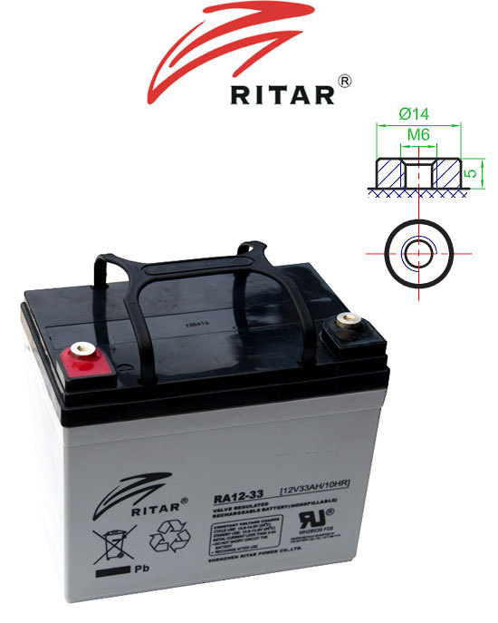 12V 33ah SLA, VRLA, AGM sealed Battery RITAR F11