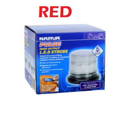 'Pulse' High Output L.E.D Strobe Light (RED), 8 Selectable Flash Patterns, Flange Base (free delivery)
